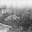 Ausrufung der Republik Deutschösterreich. Menschenmassen vor dem Parlament. © ÖNB (117.760 B)